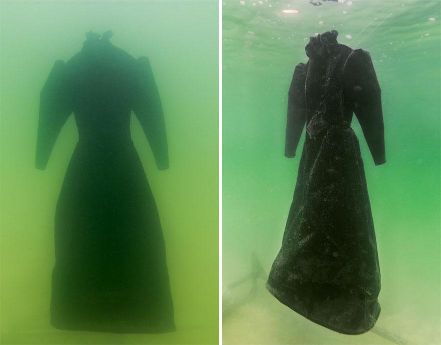 Как черное платье превратилось в соленую скульптуру на дне моря рис 5