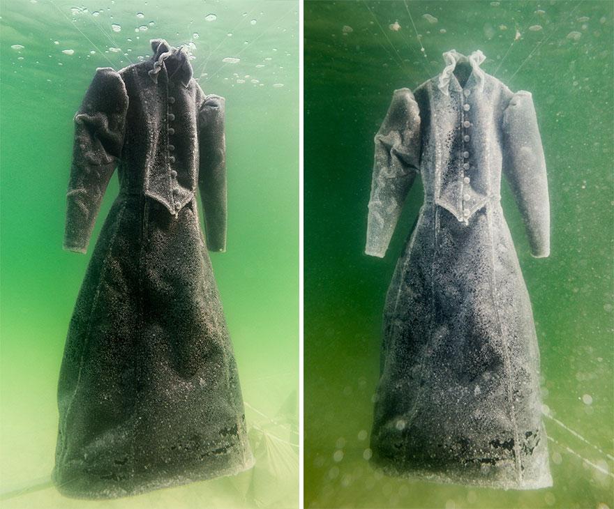 Как черное платье превратилось в соленую скульптуру на дне моря рис 3