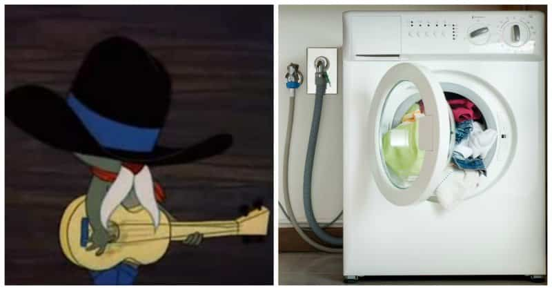 Музыкальный дуэт человека и стиральной машины