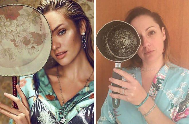 Австралийка смешно пародирует фотографии звёзд из Инстаграма рис 8