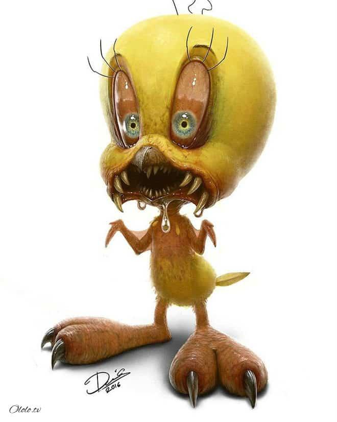 Художник с помощью фотошопа превращает милых персонажей мультиков в жутких монстров