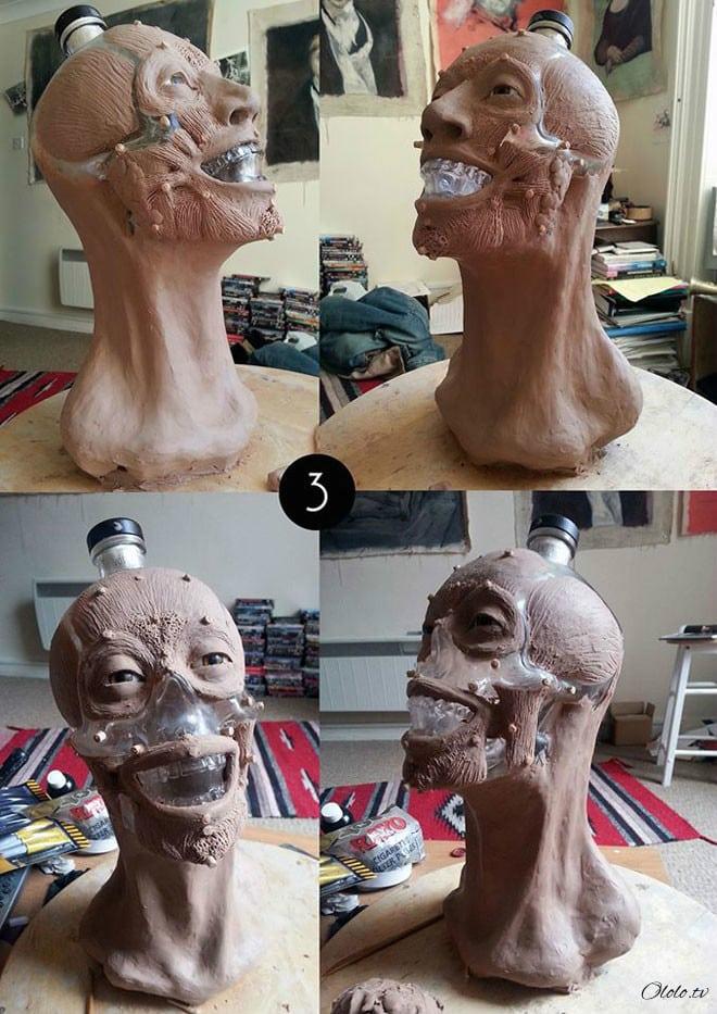 Художник-криминалист купил бутылку водки в виде стеклянного черепа и восстановил её лицо рис 3