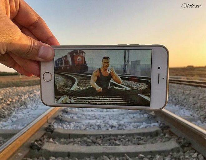 Фотограф мастерски объединяет реальный мир с фотографиями на его смартфоне