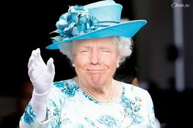 Королева Елизавета с лицом Дональда Трампа рис 2