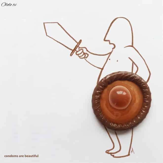 Индийский художник использует в своих рисунках презервативы рис 3