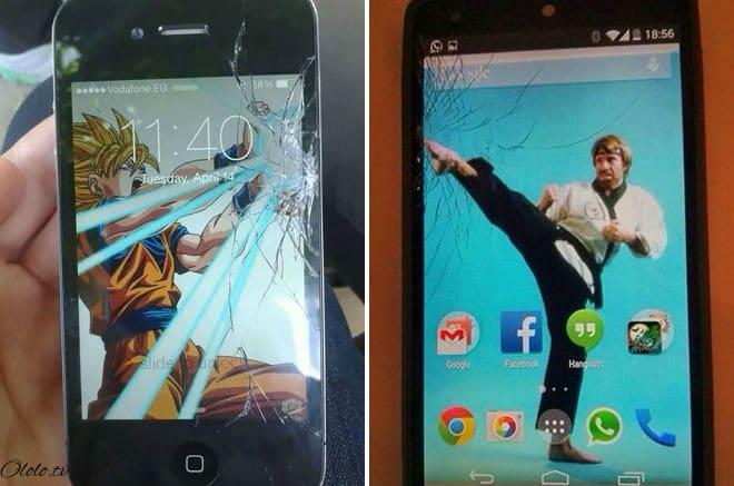 Креативные люди, которые творчески подошли к треснутому экрану на своём мобильнике рис 2