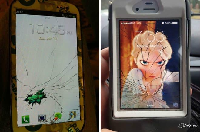 Креативные люди, которые творчески подошли к треснутому экрану на своём мобильнике рис 3