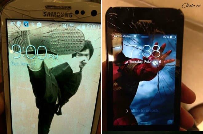Креативные люди, которые творчески подошли к треснутому экрану на своём мобильнике рис 5