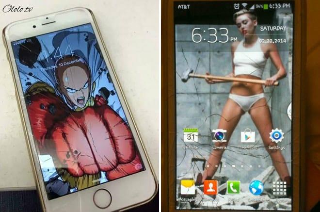Креативные люди, которые творчески подошли к треснутому экрану на своём мобильнике рис 6