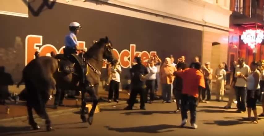 Танцующий конь Тони из американской конной полиции