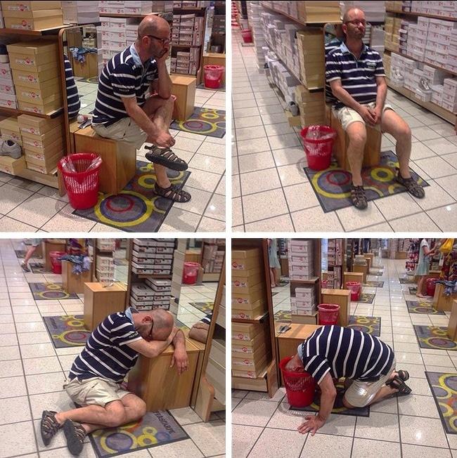 10+ фотографий мужчин, чья сила воли закалялась во время женского шоппинга! рис 11