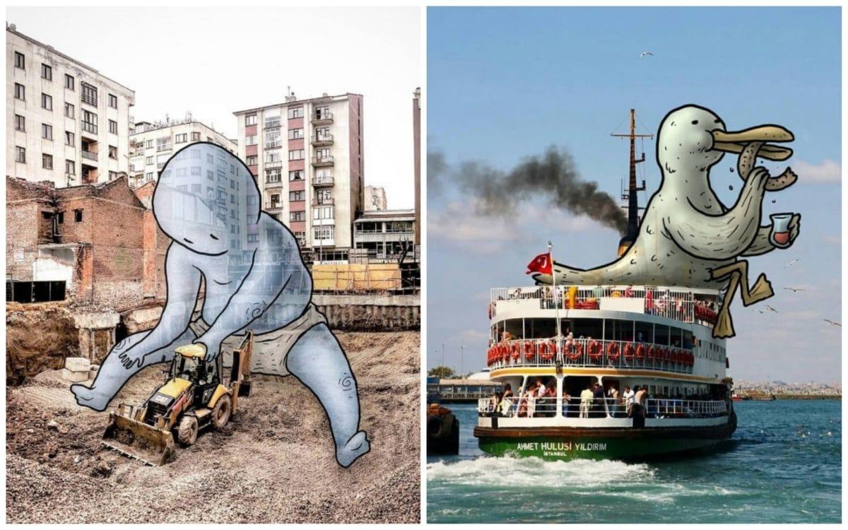 16 фото улиц, заселенных гигантскими персонажами