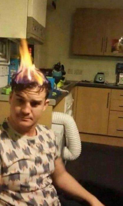 волосы горят