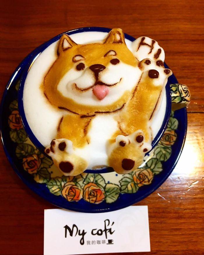 кофе с рисунком собаки