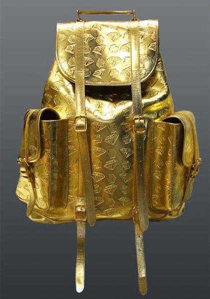 дорогой золотой рюкзак с бриллиантами