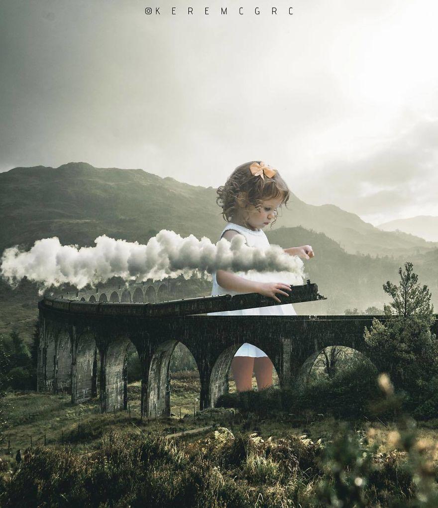 девочка с паровозиком