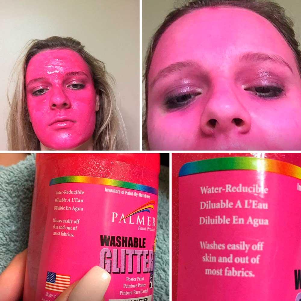 девушка с розовой краской на лице