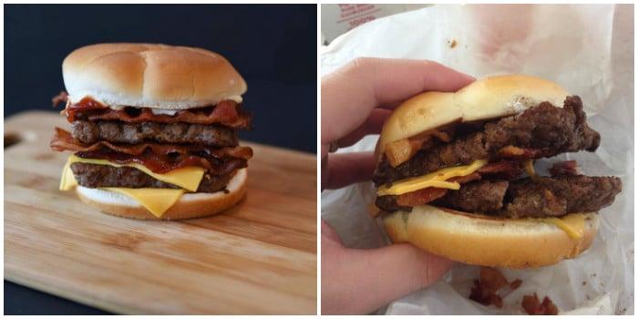 ожидание и реальность: бургер с беконом