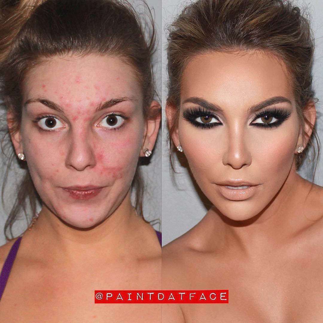 девушка до и после макияжа рис 2
