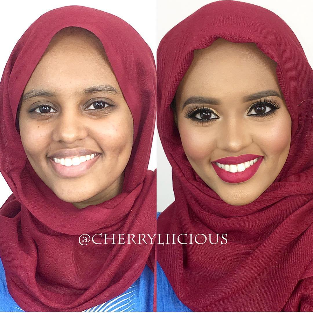 девушка без макияжа и с макияжем