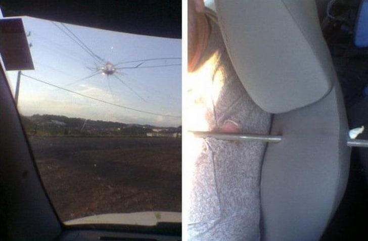 прут застрял в сиденье авто