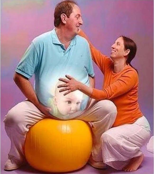 муж с прифотошопленным животом и жена