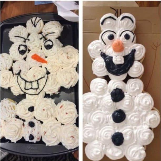 торт в форме снеговика