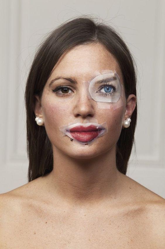 брюнетка с вырезками из журнала на лице