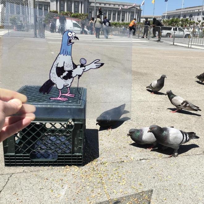 нарисованный голубь и голуби