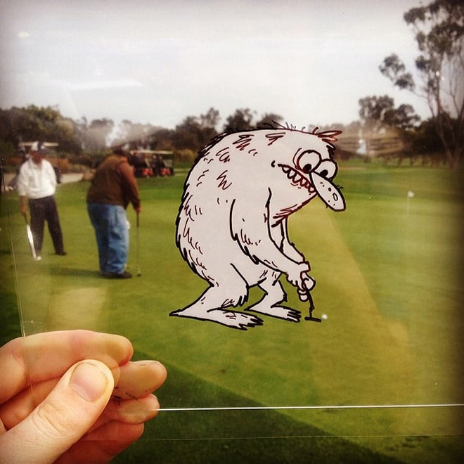 нарисованный персонаж играет в гольф
