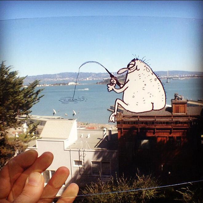 нарисованный персонаж рыбачит