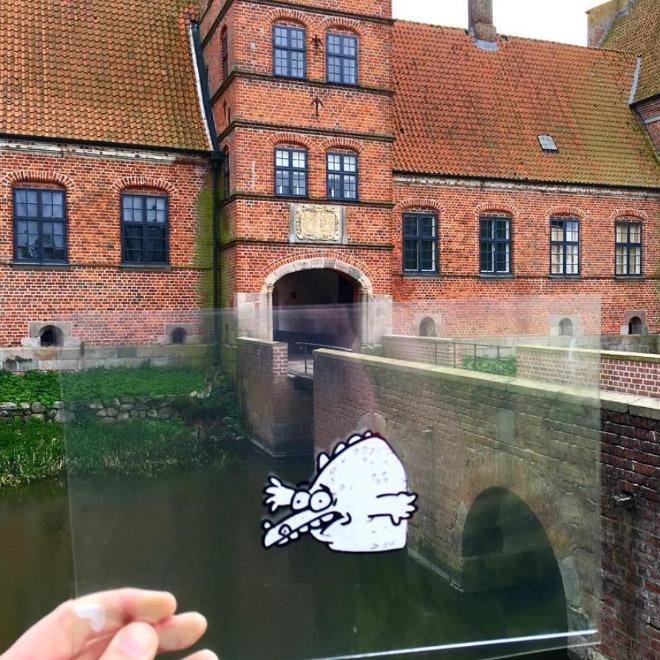 нарисованный персонаж застрял в мосту