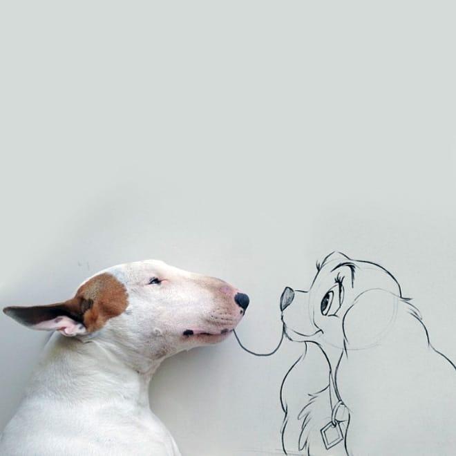 питбуль рядом с нарисованной собакой