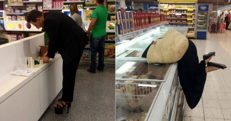 странные люди в супермаркете