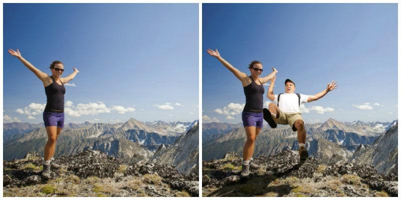 девушка и мужчина в горах