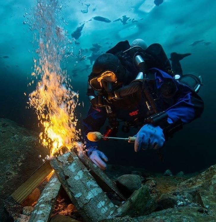костер под водой