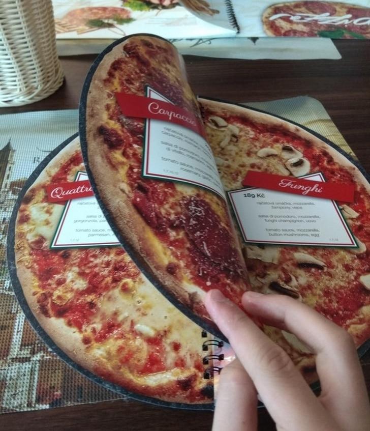 меню в виде пиццы