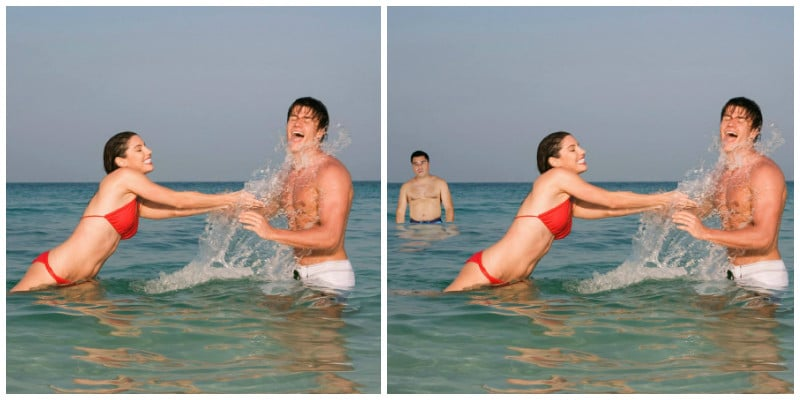пара в воде и мужчина на фоне их