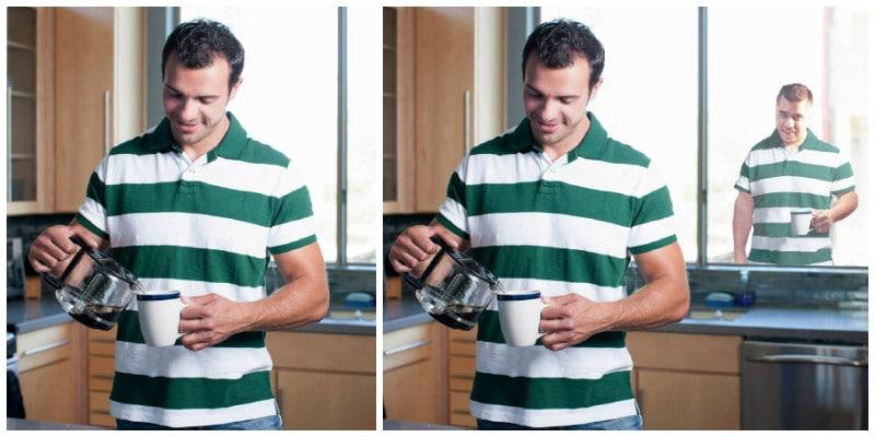 мужчина наливает кофе и Мэтью на фоне