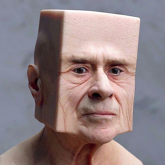 мужчина с квадратной головой