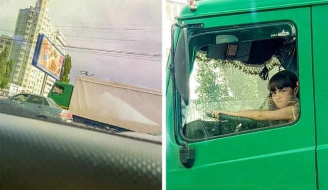 девочка за рулем грузовика