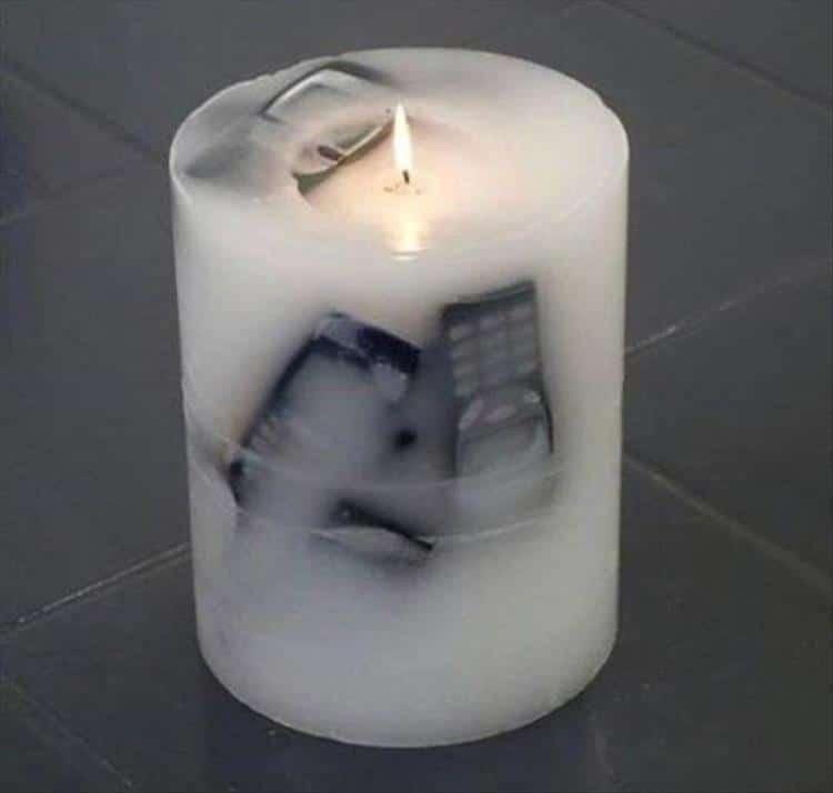 свеча с телефонами внутри