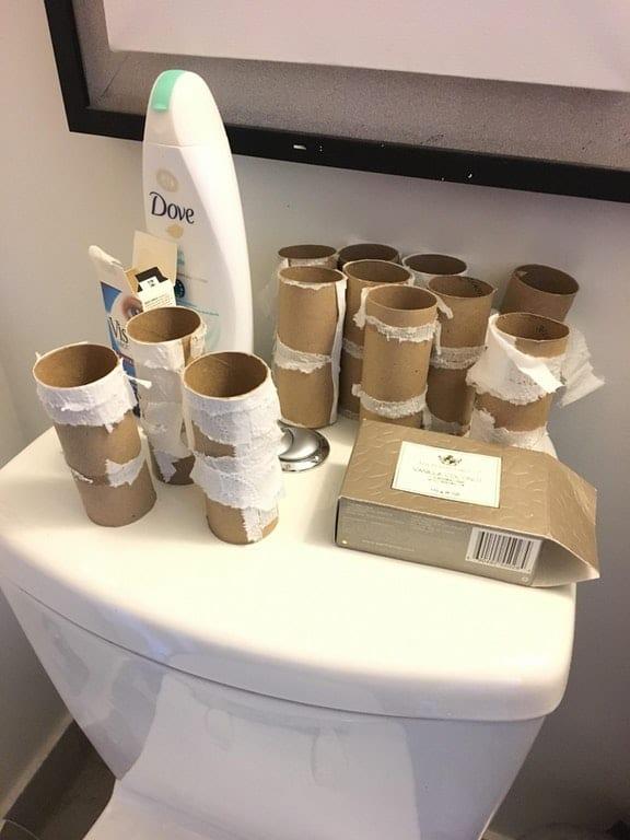 использованные рулоны от туалетной бумаги