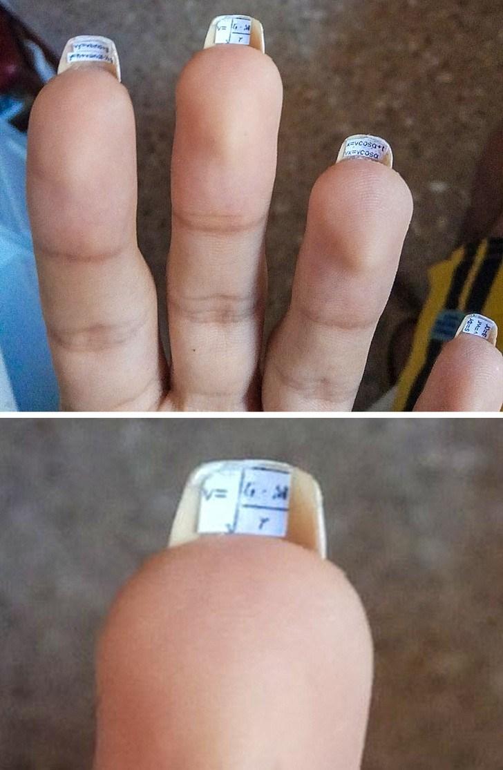 шпаргалки под ногтями