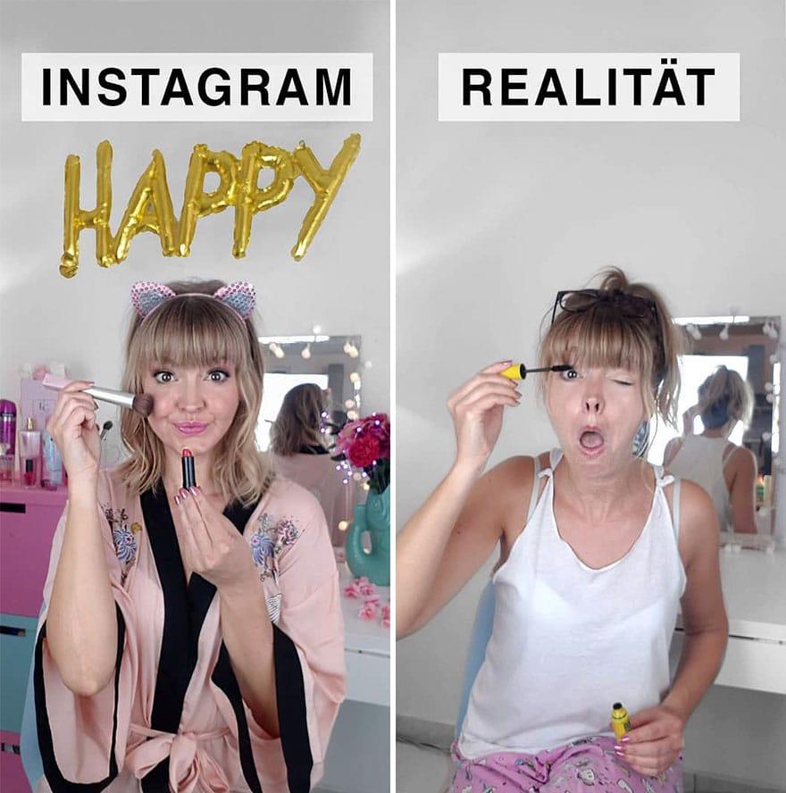 Инстаграм и жизнь: девушка красится