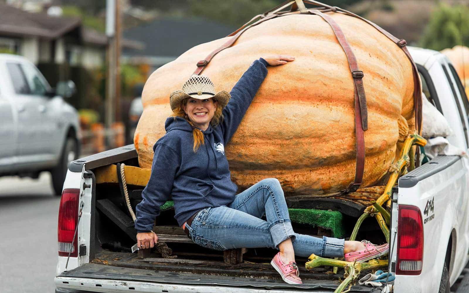 девушка везет на машине очень большую тыкву