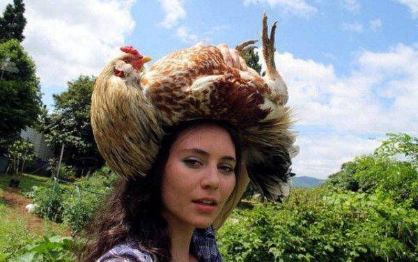 девушка с курицей на голове