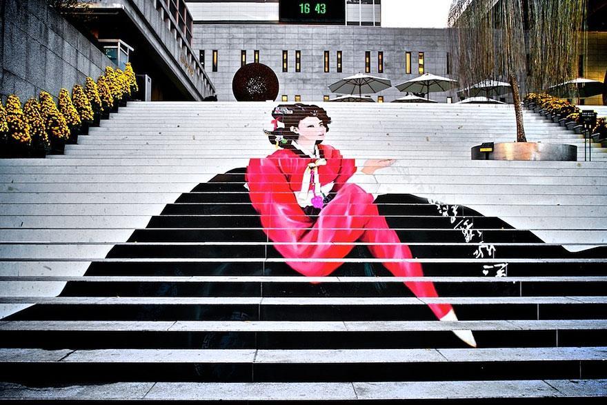 рисунок девушки на лестнице