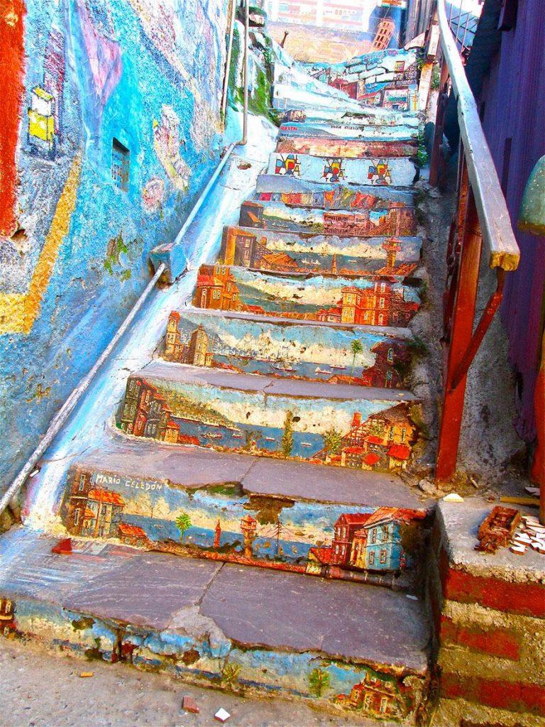 разрисованная лестница