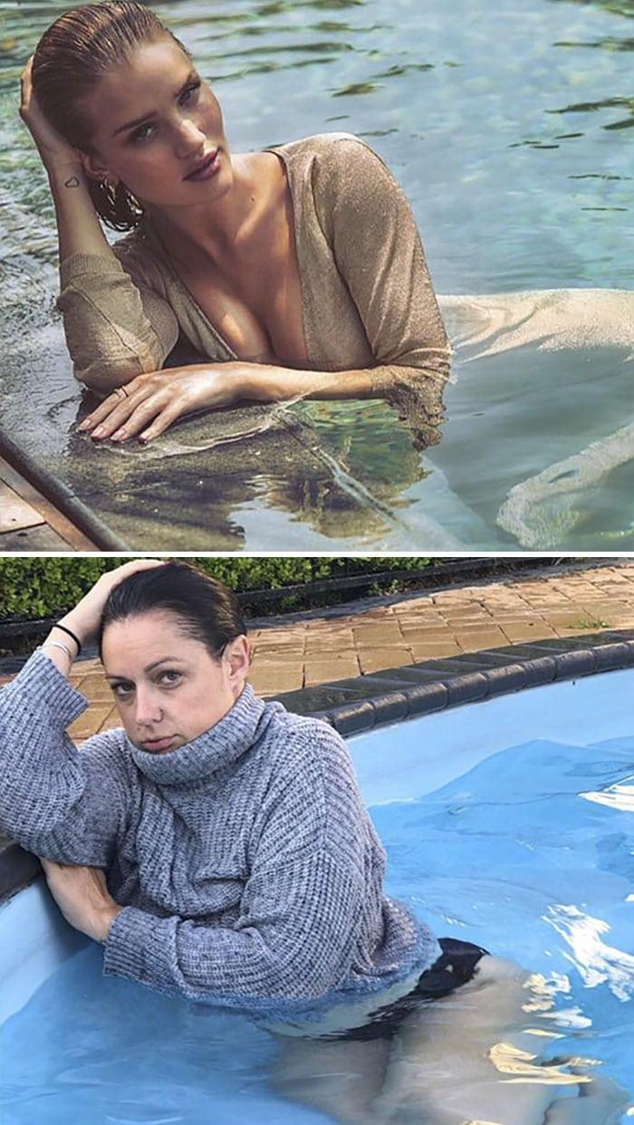 Селеста Барбер в бассейне